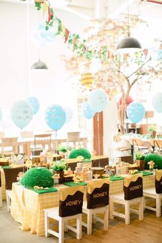 Hundred Acre Wood guest tables from a Winnie the Pooh 1st Birthday Party on Kara's Party Ideas | KarasPartyIdeas.com (9)