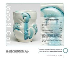One of Ceramics Monthly's 2015 Emerging Artists, Joyce St. Clair, shared a recipe with us, The John Gill Blue (JGB) Glaze in our May 2015 issue. Click here for a printer-friendly free version of the recipe!   http://ceramicartsdaily.org/wp-content/uploads/2015/04/JStClairEmergingArtistGlazeExtraMay2015CM.pdf  To learn more about the May 2015 issue, click here: http://ceramicartsdaily.org/ceramics-monthly/ceramics-monthly-may-2015/
