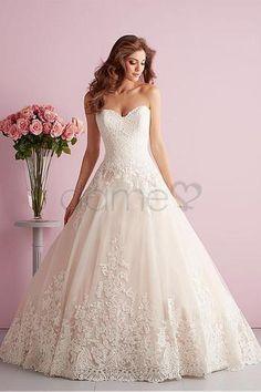 Satin Spitze Herz-Ausschnitt Prinzessin bodenlanges aufgeblähtes romantisches Brautkleider