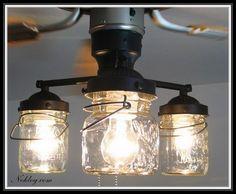 Vintage Ceiling Fan Light Kits - Mason Jar Lights on a Ceiling Fan, love it