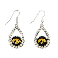 "Iowa Hawkeyes 2"" Silver Tone Earrings Featuring an Oval Shape Iowa Logo with Clear Crystal Rhinestones Judson http://www.amazon.com/dp/B00LRXFODC/ref=cm_sw_r_pi_dp_8ts4tb1SPJ4HE"