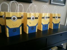 Minion party favor bags. So simple and so fun!