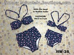 Matching Mom and Daughter High Waist Swimsuit (Multi Color Floral Design) HW28 - Smoky Mountain Boutique