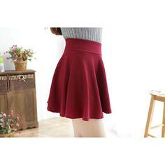 Burgundy Elastic Waist Pleated Skirt