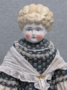 "25"" Big Old Antique German Blonde Hertwig Porcelain China Head Cloth Lady Doll 