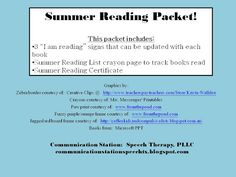 Speechie Freebies: Summer Reading Packet! Pinned by SOS Inc. Resources. Follow all our boards at pinterest.com/sostherapy for therapy resources.