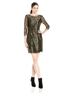 Adrianna Papell Metallic Lace Cocktail Dress in Black/Gold - http://www.womansindex.com/adrianna-papell-metallic-lace-cocktail-dress-in-blackgold/