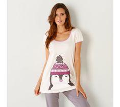 Pyžamové tričko s krátkym rukávom a potlačou tučniaka | blancheporte.sk #blancheporte #blancheporteSK #blancheporte_sk #akce #vyprodej #sleva T Shirts For Women, Tops, Fashion, Moda, Fashion Styles, Fashion Illustrations