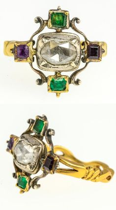 *A Georgian diamond and gemset ring, the centre rose-cut diamond to a pair of square-shaped emeralds and similarly-shaped amethysts set a cruciform points, mounted in silver and gold.