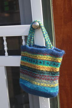 Felted wool bag with bands of ehnic by ThreeMomsnDaughters on Etsy, $55.00
