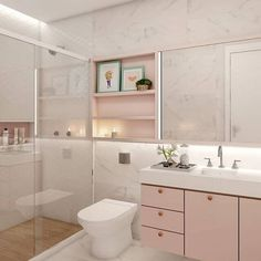 Banheiro Rosa - Pink Bathroom Pink bathroom, rose gold bathroom, pink and gray bathroom, pink and wh Pastel Bathroom, Pink Bathroom Decor, Baby Bathroom, Gold Bathroom, Bathroom Design Small, Grey Interior Design, Bathroom Interior Design, Princess Bathroom, Rose Gold Rooms