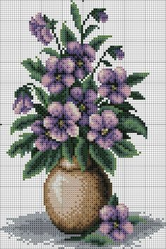 Pansy Bouquet Counted Cross Stitch Kit x Cross Stitch Rose, Cross Stitch Flowers, Cross Stitch Designs, Cross Stitch Patterns, Cross Stitching, Cross Stitch Embroidery, Bordado Tipo Chicken Scratch, Cross Stitch Pictures, Crochet Cross