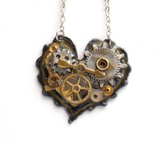 """Steampunk Heart Necklace """"The Gears of the Heart"""""""