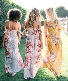 Bohemian Bridal Shower Dress Bridesmaid Ideas For 2019 Bridal Shower Attire, Elegant Bridal Shower, Shower Outfits, Baby Shower Dresses, Party Outfits, Maxi Outfits, Floral Bridesmaid Dresses, Bridesmaid Robes, Bridesmaids