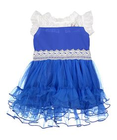 Love this Royal Blue & White Lace Ruffle Dress by Baby Loo on #zulily! #zulilyfinds