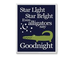 Navy Green Alligator Nursery Boys Wall Art by PaperPlanePrints.etsy.com, $18.00 This fun little chomper coordinates with Pottery Barn Alligator Madras bedding.
