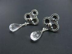 Sterling Silver Medallion Crystal Quartz Briolette Post Stud Style Earrings Bridal Earrings