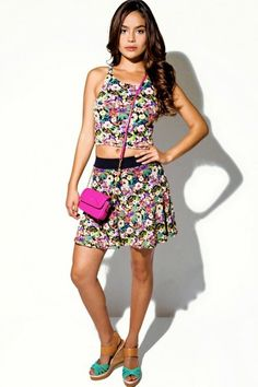 Floral print crop skater mini skirt 2fer set  http://isisklothing.com/