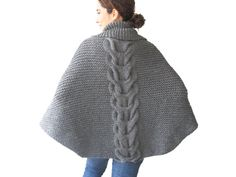 Plus Size Hand Knitted Silver Dark Grey Poncho with by afra