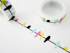 scrapbook ideas for beginners, two rolls of white sticky tape with yellow, black, blue and pink bird design on white background Black And White Birds, Yellow Black, Journal Design, Journal Ideas, Scotch, Tourist Sites, Print Your Photos, Pink Bird, Viajes