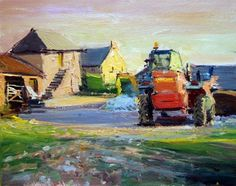 "Daily Paintworks - ""Cornwall Series III (Evening Light, Cornish Farmyard)"" - Original Fine Art for Sale - © Adebanji Alade"