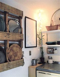 Galvanised Zinc plate rack - wood plate rack above, neat | for the ...