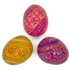 Set of 3 Vermicular Colorful Wooden Ukrainian Pysanky Easter Eggs