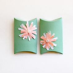 pillow boxes HANDMADE NOT BOUGHT made from upcycled cardboard, ecofriendly gift wrap, kraft gift boxes, mint, coral peach, table decor. $8.00, via Etsy. - I think I could make my own too :) Great idea ~ msut try! #ecrafty