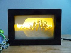 Sea monster, paper cut light box, handmade by Artboxvn on Etsy