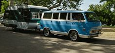 Cool old chevy van and trailer