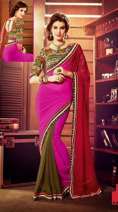 Khaki Green And Pink Chiffon Sequins Border Jaipuri Embroidered Blouse Saree