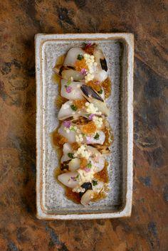 Scallop sashimi, tosazu jelly and yuzu ginger dressing.
