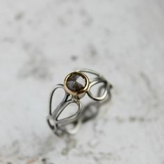Rose Cut Diamond, 14k Gold and Sterling Silver Engagement Ring | Moira K. Lime Jewelry