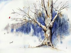 Untitled Winter Tree Painting by Sam Sidders - Untitled Winter Tree Fine Art Prints and Posters for Sale