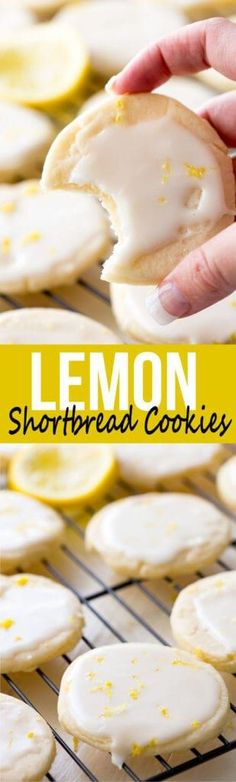 Shortbread Cookies: Literally the best cookies ever! These light, buttery cookies offer a subtle lemon flavor, and are topped with a bright and vibrant lemon glaze, giving you a mouthful of delicious goodness. These are special cookies. Lemon Desserts, Lemon Recipes, Cookie Desserts, Just Desserts, Sweet Recipes, Baking Recipes, Cookie Recipes, Dessert Recipes, Baking Cookies