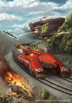 Cover of the book out for the Contact rpg. This time a scenario module that takes place on a double railed super train infested with all sorts of ba. Contact - Aliens on a Train Futuristic Art, Futuristic Technology, Futuristic Armour, Concept Ships, Concept Cars, Arte Steampunk, Spaceship Art, Sci Fi Ships, Weapon Concept Art