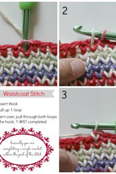 At first, I thought this was just a slip stitch.  The slip stitch or single crochet will both create a dense fabric, but the front and back appear differently.  With the stitch that Rhondda has updated for us, we get the attractive V pattern on both sides of the fabric.