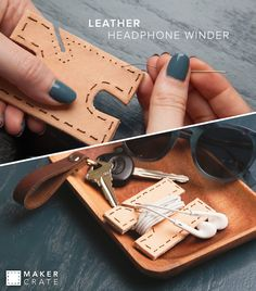 Leather Handphone Winder | Keep your earphones tangle-free! | Maker Crate #organization #diy