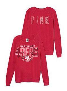 Victoria Secret PINK San Francisco 49ers Boyfriend Sweatshirt Red Crew Slouchy  #VictoriasSecret #SweatshirtCrew