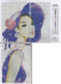 0 point de croix femme en violet - cross stitch purple lady