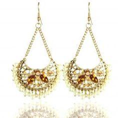 Glamorous Gold Fan Shaped Earrings
