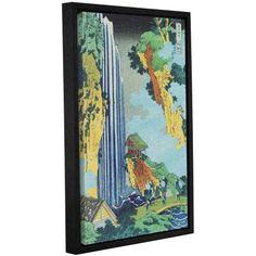 ArtWall Katsushika Hokusai Ono Waterfall on the Kisokaido Gallery-Wrapped Floater-Framed Canvas, Size: 24 x 36, Green