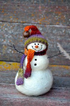 Snowman Christmas decor Needle Felted wool