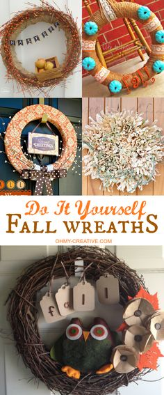 Fall is the perfect time to decorate the front of the house. Start with one of these creative Do It Yourself Fall Wreaths for the front door, add a few pots of mums and pumpkins and have a beautiful display to welcome guests!  |  OHMY-CREATIVE.COM