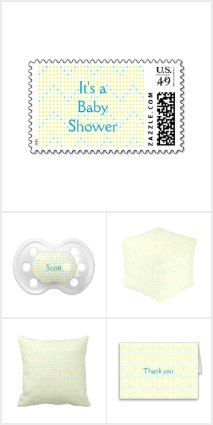 Yellow Aqua Chevron Baby Collection by #CherylsArt. Find custom baby shower invitations, bibs, pacifiers, baby blankets, postage stamps, and more. The background color of white can be customized.
