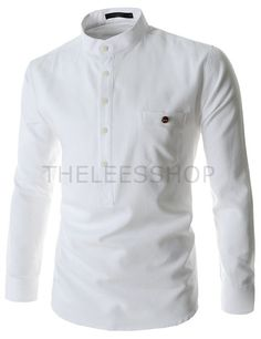 (FLS255-WHITE) Mens China Collar Henley Neck Pocket Button Point Long Sleeve Shirts