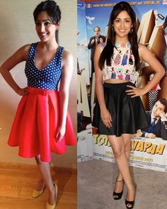 The best way to wear a skater short skirt is pairing it up with a crop top. Whether it is a leather, printed or a single coloured skirt, our Bollywood actress Yami Gautam knows how to sport it. The actress was seen twice wearing this combo- firstly at Jabong online fashion week and then during her film Total Siyapaa's promotions.