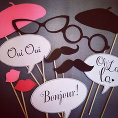 Paris themed Photo booth props by WonderfullyMadeBows on Etsy