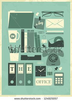 Retro poster with office related items.