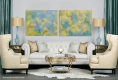Large Abstract Art Abstract Painting Yellow Blue by ReginaArt